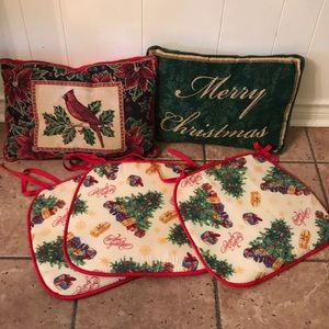 Other - 2 Christmas pillows, 3 seat covers